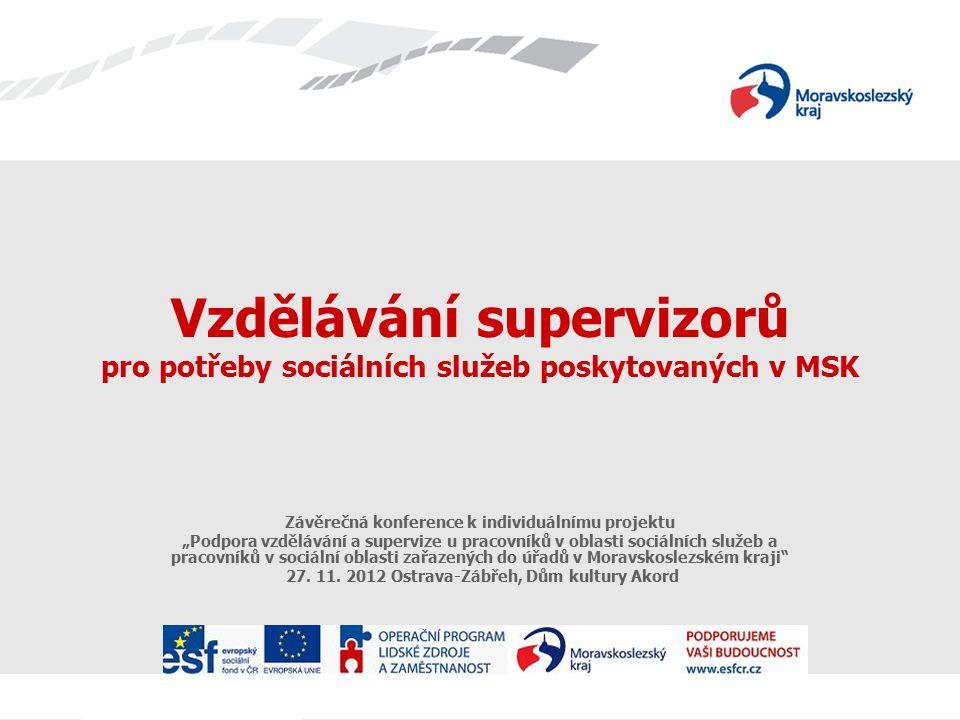 """Vzdělávání supervizorů pro potřeby sociálních služeb poskytovaných v MSK Závěrečná konference k individuálnímu projektu """"Podpora vzdělávání a supervize u pracovníků v oblasti sociálních služeb a pracovníků v sociální oblasti zařazených do úřadů v Moravskoslezském kraji 27."""