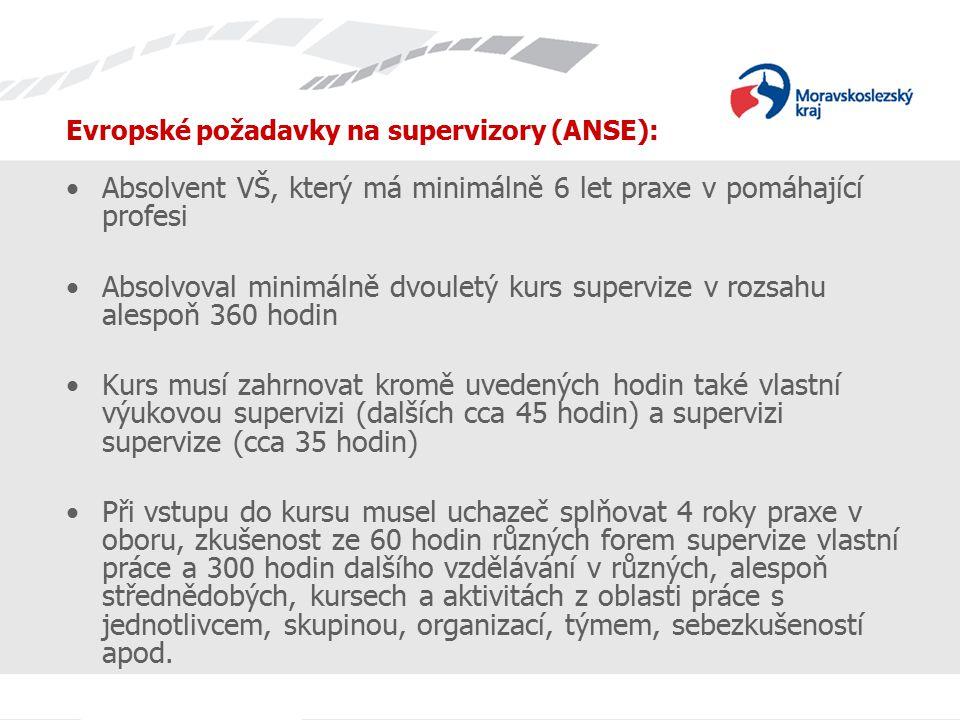 Evropské požadavky na supervizory (ANSE): Absolvent VŠ, který má minimálně 6 let praxe v pomáhající profesi Absolvoval minimálně dvouletý kurs supervize v rozsahu alespoň 360 hodin Kurs musí zahrnovat kromě uvedených hodin také vlastní výukovou supervizi (dalších cca 45 hodin) a supervizi supervize (cca 35 hodin) Při vstupu do kursu musel uchazeč splňovat 4 roky praxe v oboru, zkušenost ze 60 hodin různých forem supervize vlastní práce a 300 hodin dalšího vzdělávání v různých, alespoň střednědobých, kursech a aktivitách z oblasti práce s jednotlivcem, skupinou, organizací, týmem, sebezkušeností apod.