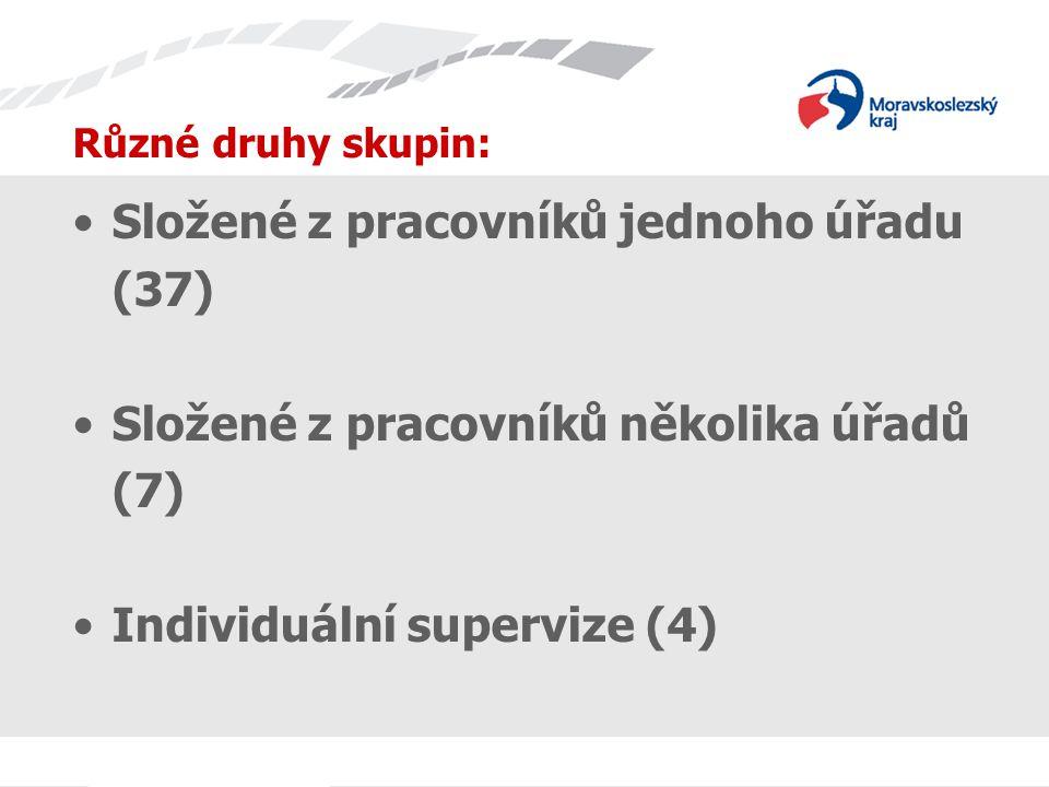 Různé druhy skupin: Složené z pracovníků jednoho úřadu (37) Složené z pracovníků několika úřadů (7) Individuální supervize (4)