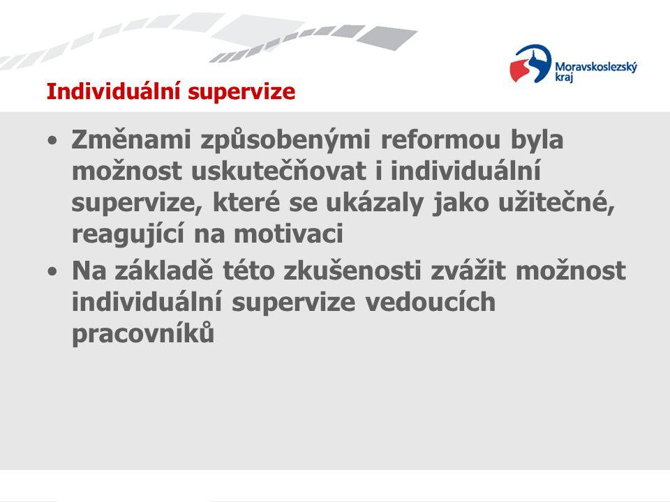 Individuální supervize Změnami způsobenými reformou byla možnost uskutečňovat i individuální supervize, které se ukázaly jako užitečné, reagující na motivaci Na základě této zkušenosti zvážit možnost individuální supervize vedoucích pracovníků