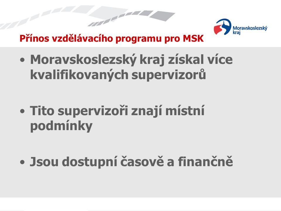 Přínos vzdělávacího programu pro MSK Moravskoslezský kraj získal více kvalifikovaných supervizorů Tito supervizoři znají místní podmínky Jsou dostupní časově a finančně