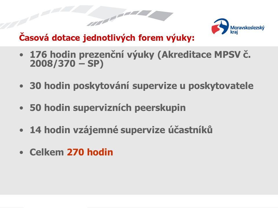 Časová dotace jednotlivých forem výuky: 176 hodin prezenční výuky (Akreditace MPSV č.