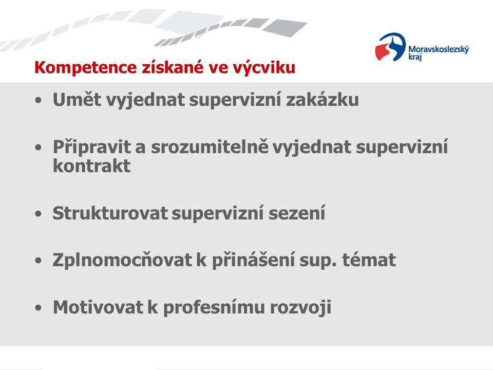 Kompetence získané ve výcviku Umět vyjednat supervizní zakázku Připravit a srozumitelně vyjednat supervizní kontrakt Strukturovat supervizní sezení Zplnomocňovat k přinášení sup.