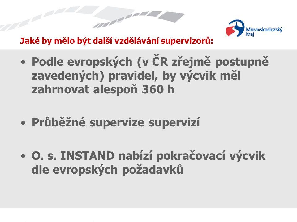 Jaké by mělo být další vzdělávání supervizorů: Podle evropských (v ČR zřejmě postupně zavedených) pravidel, by výcvik měl zahrnovat alespoň 360 h Průběžné supervize supervizí O.