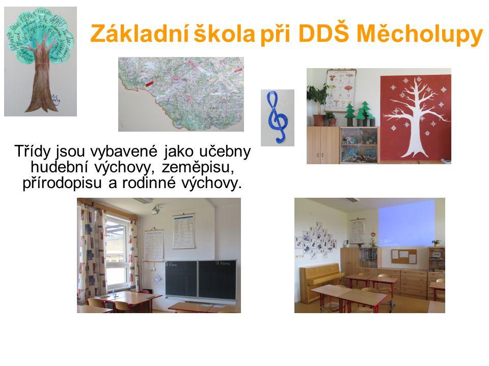 Základní škola při DDŠ Měcholupy Třídy jsou vybavené jako učebny hudební výchovy, zeměpisu, přírodopisu a rodinné výchovy.