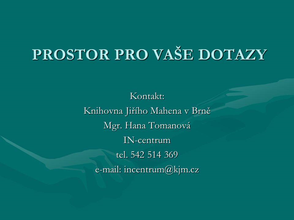 PROSTOR PRO VAŠE DOTAZY PROSTOR PRO VAŠE DOTAZY Kontakt: Knihovna Jiřího Mahena v Brně Mgr.
