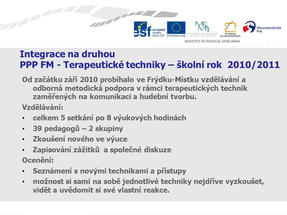 Integrace na druhou PPP FM - Terapeutické techniky – školní rok 2010/2011 Od začátku září 2010 probíhalo ve Frýdku-Místku vzdělávání a odborná metodická podpora v rámci terapeutických technik zaměřených na komunikaci a hudební tvorbu.