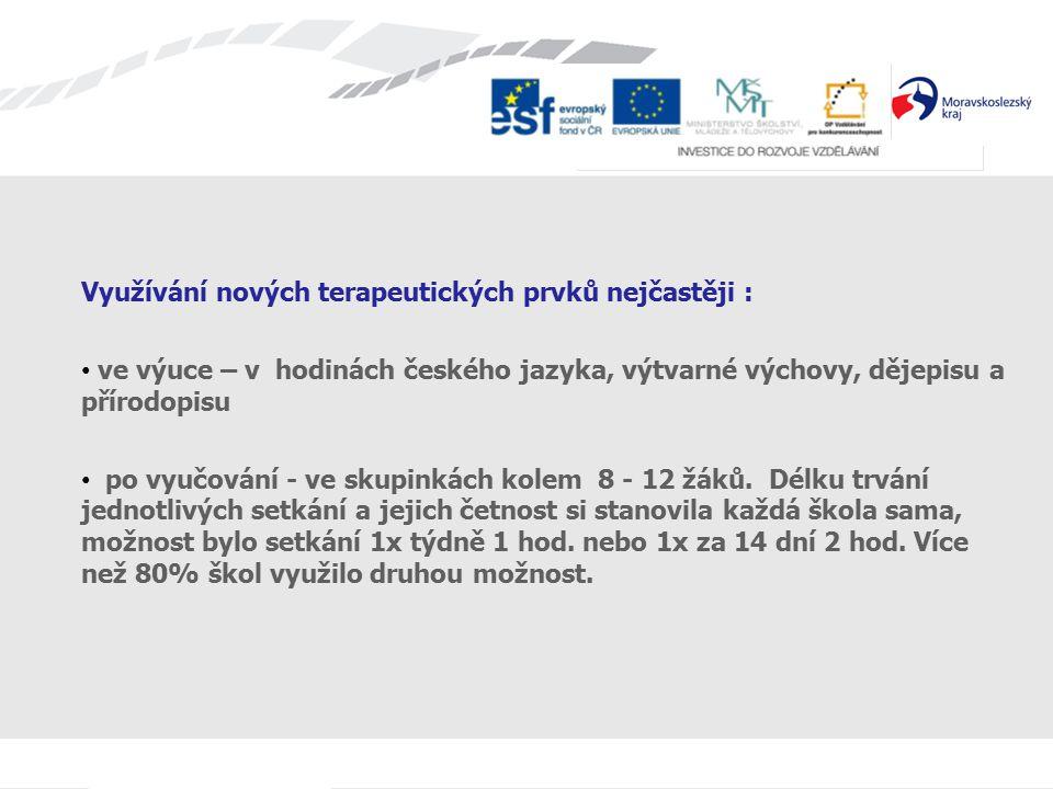 Využívání nových terapeutických prvků nejčastěji : ve výuce – v hodinách českého jazyka, výtvarné výchovy, dějepisu a přírodopisu po vyučování - ve skupinkách kolem 8 - 12 žáků.