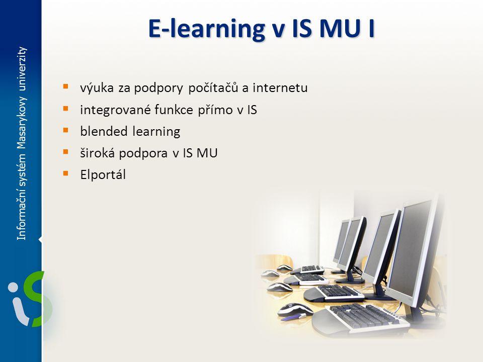 Informační systém Masarykovy univerzity E-learning v IS MU I  výuka za podpory počítačů a internetu  integrované funkce přímo v IS  blended learnin