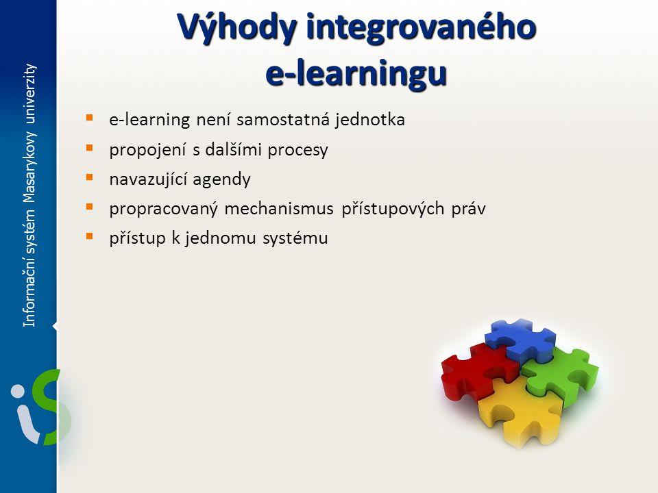 Výhody integrovaného e-learningu  e-learning není samostatná jednotka  propojení s dalšími procesy  navazující agendy  propracovaný mechanismus př
