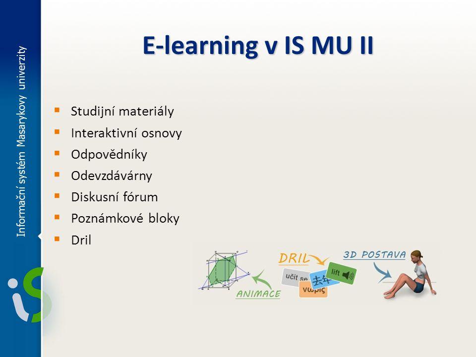 Informační systém Masarykovy univerzity Přístup k e-learningovým aplikacím  různé aplikace z pohledu učitele a studenta  učitel vytváří a spravuje  student k materiálům přistupuje  přístupová práva  e-learning provázaný s předmětem