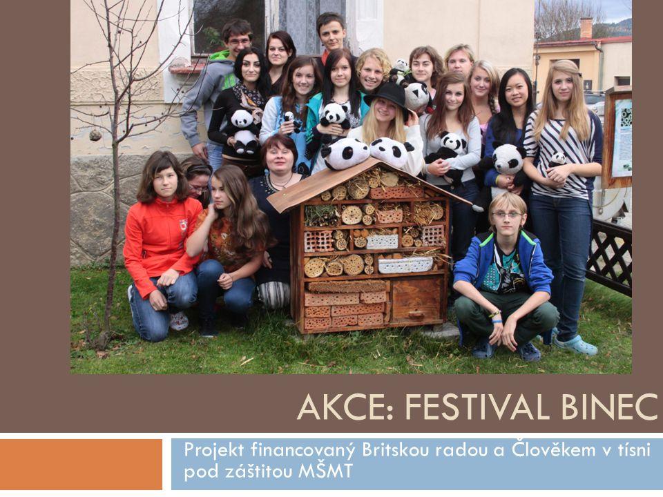 AKCE: FESTIVAL BINEC Projekt financovaný Britskou radou a Člověkem v tísni pod záštitou MŠMT