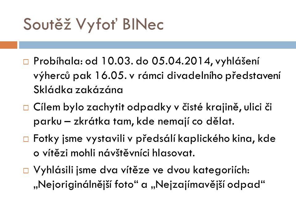 Soutěž Vyfoť BINec  Probíhala: od 10.03. do 05.04.2014, vyhlášení výherců pak 16.05.