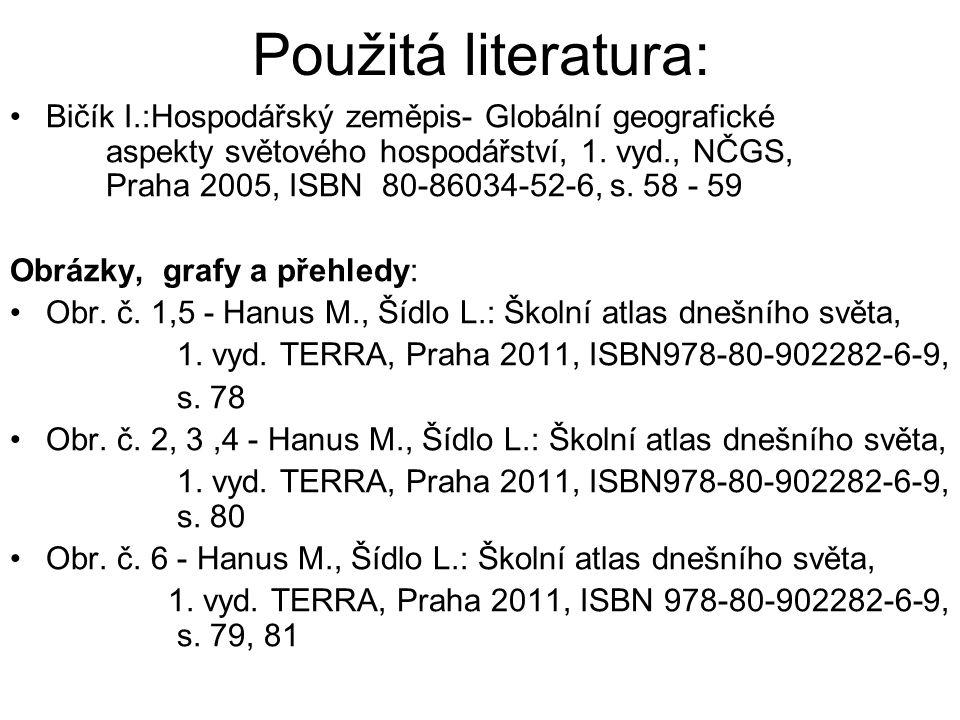 Použitá literatura: Bičík I.:Hospodářský zeměpis- Globální geografické aspekty světového hospodářství, 1. vyd., NČGS, Praha 2005, ISBN 80-86034-52-6,
