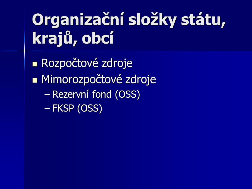 Organizační složky státu, krajů, obcí Rozpočtové zdroje Rozpočtové zdroje Mimorozpočtové zdroje Mimorozpočtové zdroje –Rezervní fond (OSS) –FKSP (OSS)