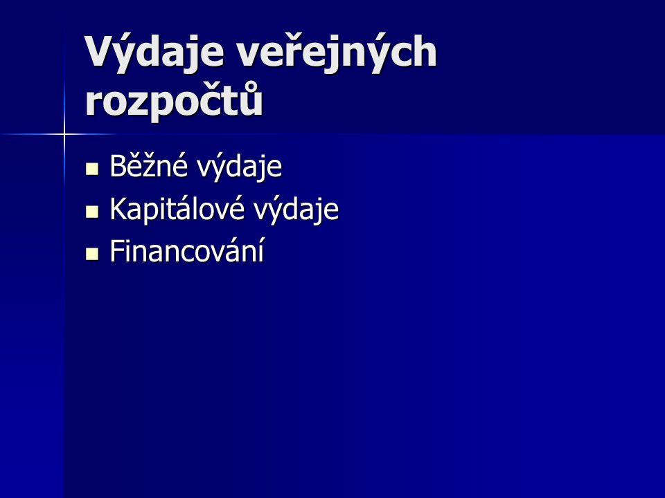 Výdaje veřejných rozpočtů Běžné výdaje Běžné výdaje Kapitálové výdaje Kapitálové výdaje Financování Financování