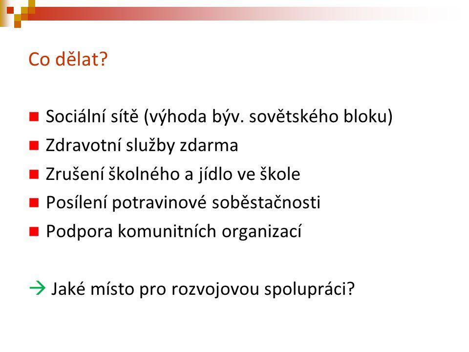 Co dělat? Sociální sítě (výhoda býv. sovětského bloku) Zdravotní služby zdarma Zrušení školného a jídlo ve škole Posílení potravinové soběstačnosti Po