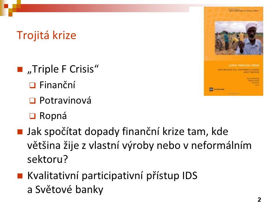"""Trojitá krize """"Triple F Crisis  Finanční  Potravinová  Ropná Jak spočítat dopady finanční krize tam, kde většina žije z vlastní výroby nebo v neformálním sektoru."""