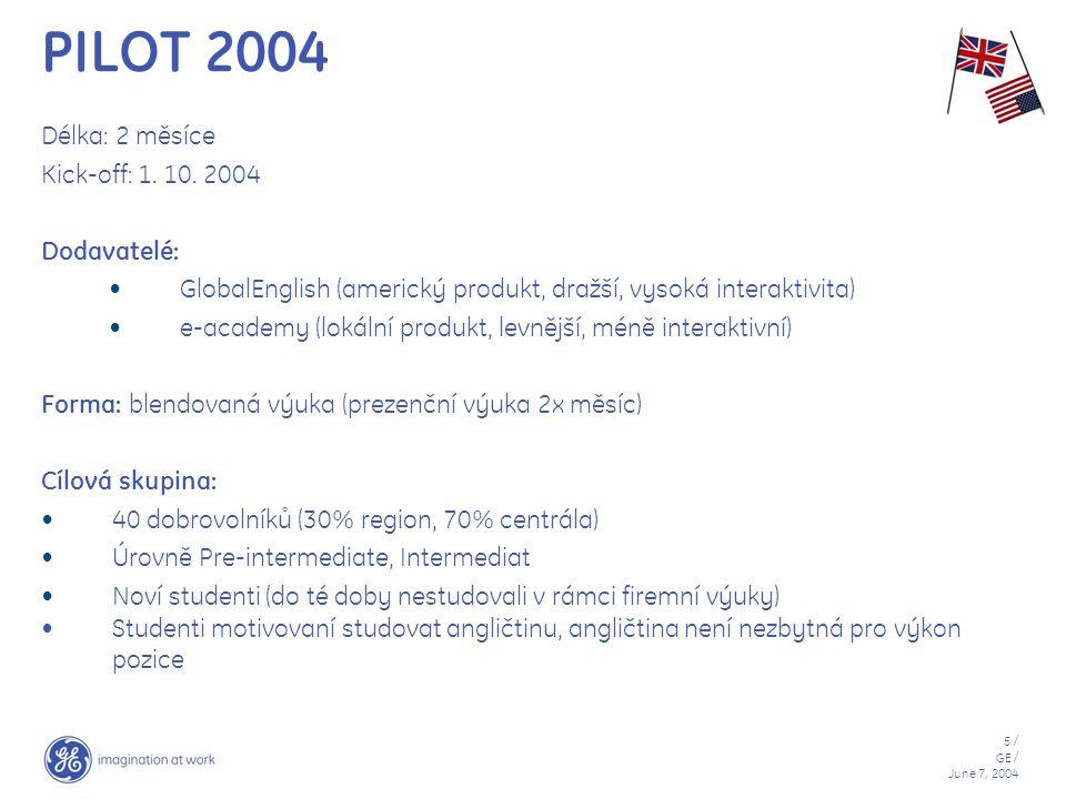 5 / GE / June 7, 2004 PILOT 2004 Délka: 2 měsíce Kick-off: 1. 10. 2004 Dodavatelé: GlobalEnglish (americký produkt, dražší, vysoká interaktivita) e-ac