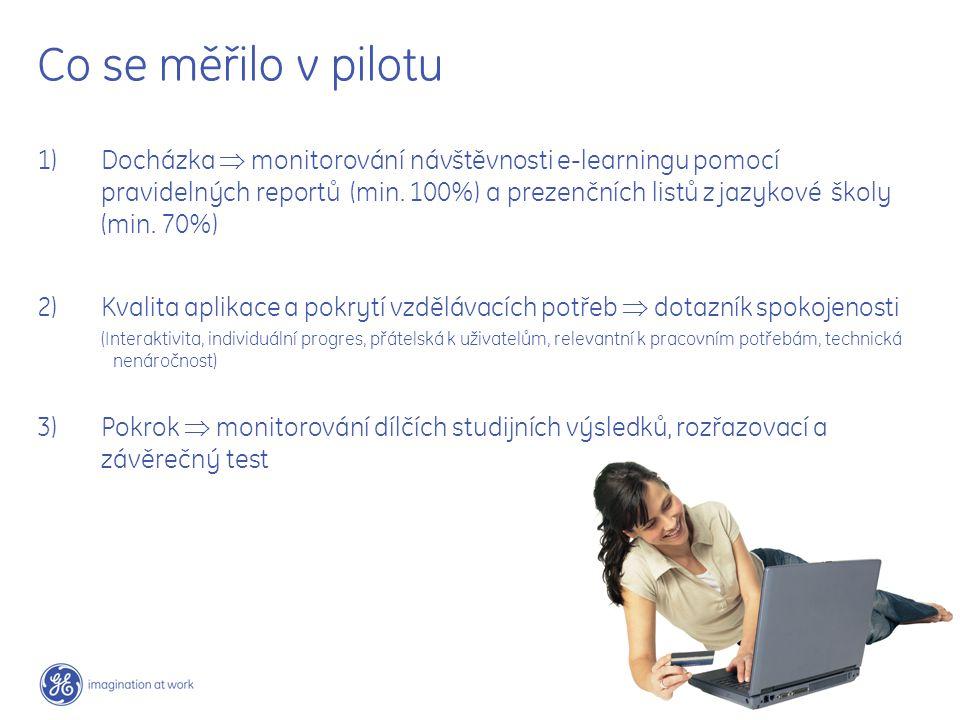7 / GE / June 7, 2004 Co se měřilo v pilotu 1) Docházka  monitorování návštěvnosti e-learningu pomocí pravidelných reportů (min. 100%) a prezenčních