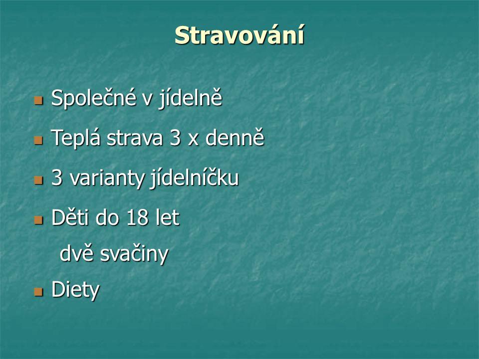 Stravování Společné v jídelně Společné v jídelně Teplá strava 3 x denně Teplá strava 3 x denně 3 varianty jídelníčku 3 varianty jídelníčku Děti do 18