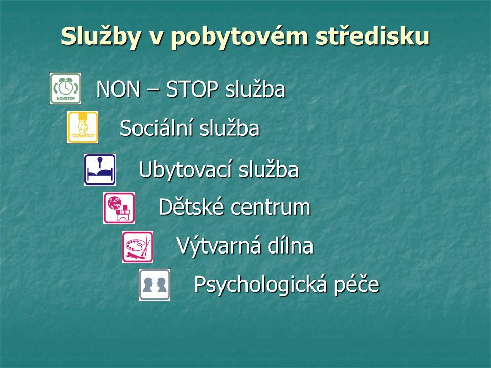NON – STOP služba Sociální služba Ubytovací služba Dětské centrum Výtvarná dílna Psychologická péče Služby v pobytovém středisku