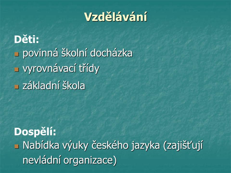 Vzdělávání povinná školní docházka povinná školní docházka vyrovnávací třídy vyrovnávací třídy základní škola základní škola Děti: Nabídka výuky české