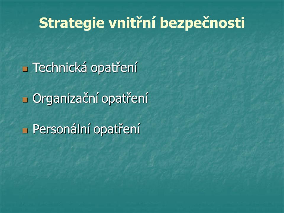 Strategie vnitřní bezpečnosti Technická opatření Technická opatření Personální opatření Personální opatření Organizační opatření Organizační opatření