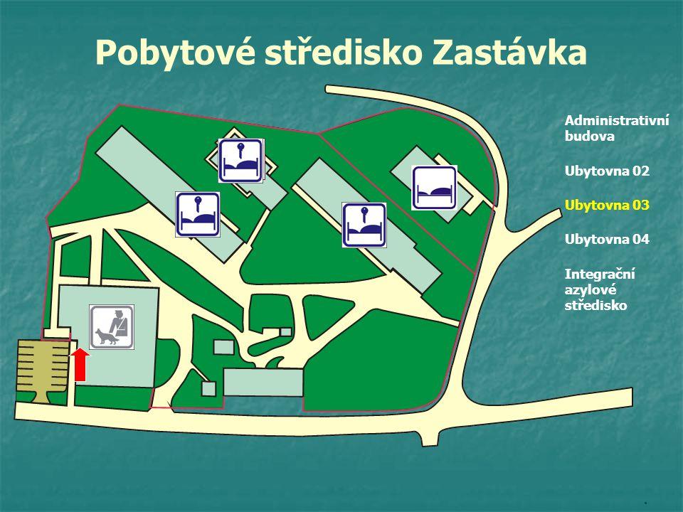 Administrativní budova Ubytovna 02 Ubytovna 03 Ubytovna 04 Integrační azylové středisko. Pobytové středisko Zastávka