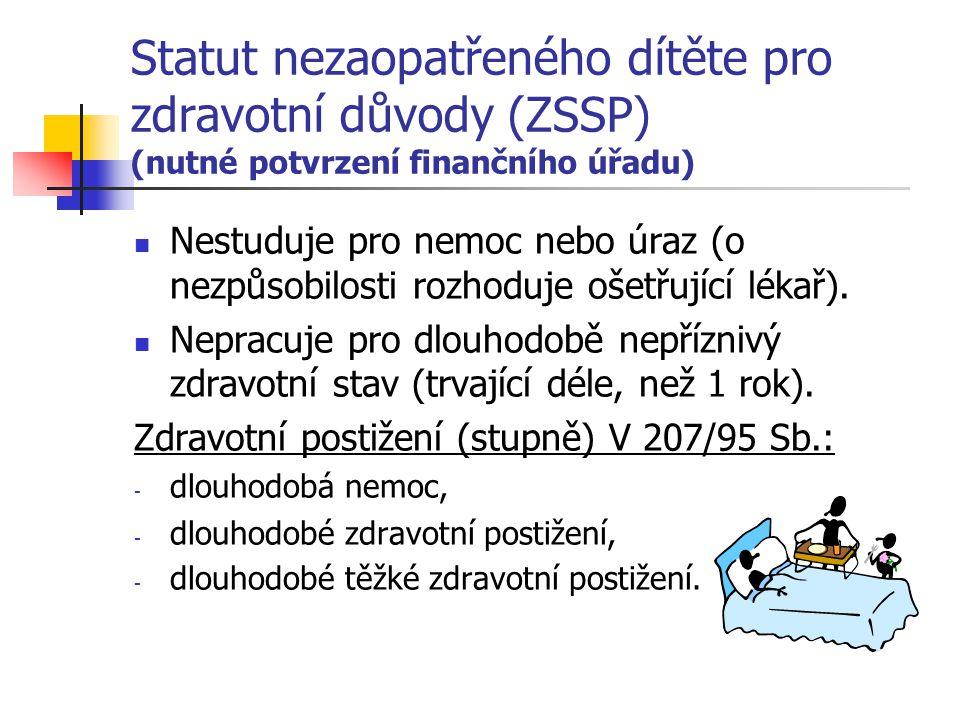 Statut nezaopatřeného dítěte pro zdravotní důvody (ZSSP) (nutné potvrzení finančního úřadu) Nestuduje pro nemoc nebo úraz (o nezpůsobilosti rozhoduje