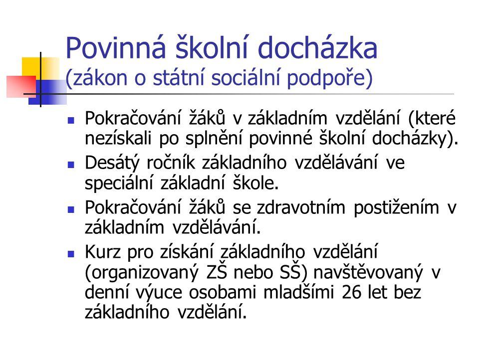 Povinná školní docházka (zákon o státní sociální podpoře) Pokračování žáků v základním vzdělání (které nezískali po splnění povinné školní docházky).