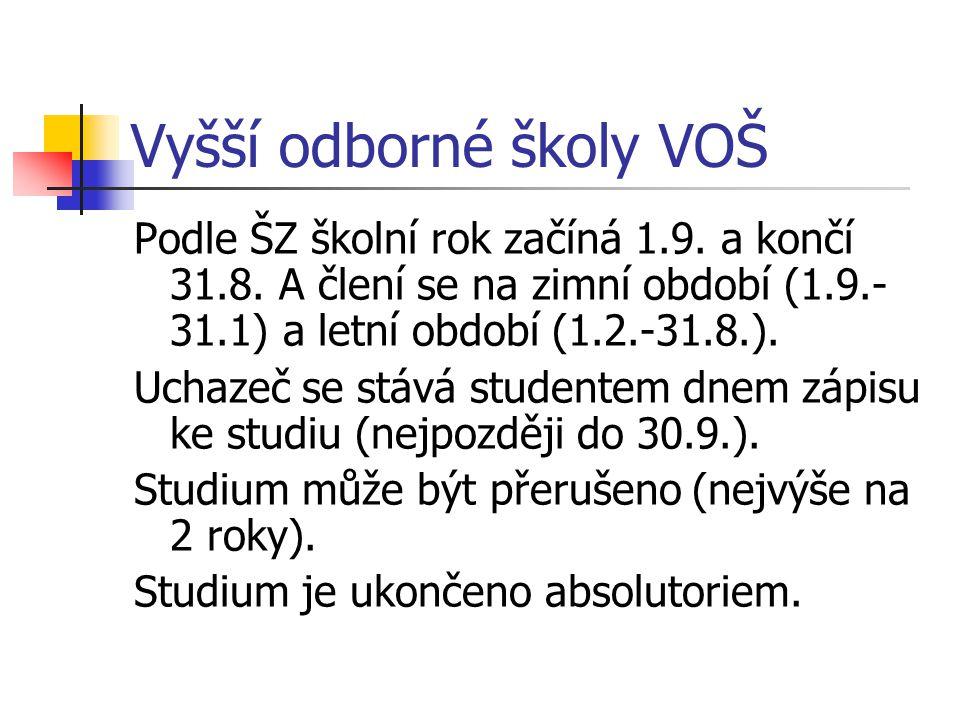 Vyšší odborné školy VOŠ Podle ŠZ školní rok začíná 1.9.