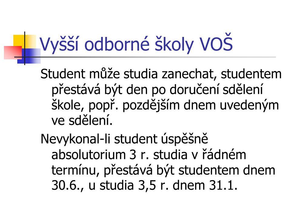 Vyšší odborné školy VOŠ Student může studia zanechat, studentem přestává být den po doručení sdělení škole, popř.