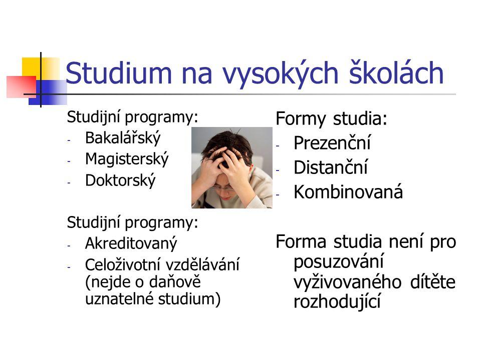 Studium na vysokých školách Studijní programy: - Bakalářský - Magisterský - Doktorský Studijní programy: - Akreditovaný - Celoživotní vzdělávání (nejd