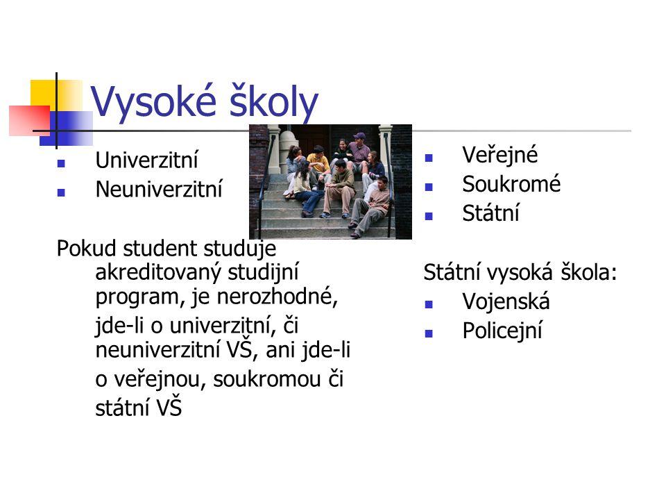 Vysoké školy Univerzitní Neuniverzitní Pokud student studuje akreditovaný studijní program, je nerozhodné, jde-li o univerzitní, či neuniverzitní VŠ,