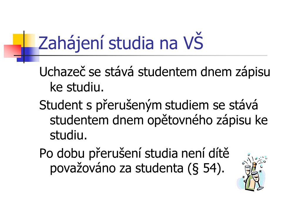 Zahájení studia na VŠ Uchazeč se stává studentem dnem zápisu ke studiu. Student s přerušeným studiem se stává studentem dnem opětovného zápisu ke stud