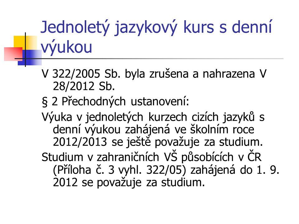 Jednoletý jazykový kurs s denní výukou V 322/2005 Sb. byla zrušena a nahrazena V 28/2012 Sb. § 2 Přechodných ustanovení: Výuka v jednoletých kurzech c