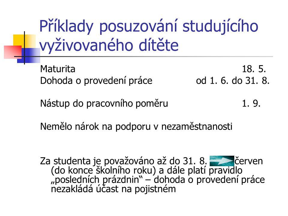 Příklady posuzování studujícího vyživovaného dítěte Maturita18. 5. Dohoda o provedení práce od 1. 6. do 31. 8. Nástup do pracovního poměru1. 9. Nemělo