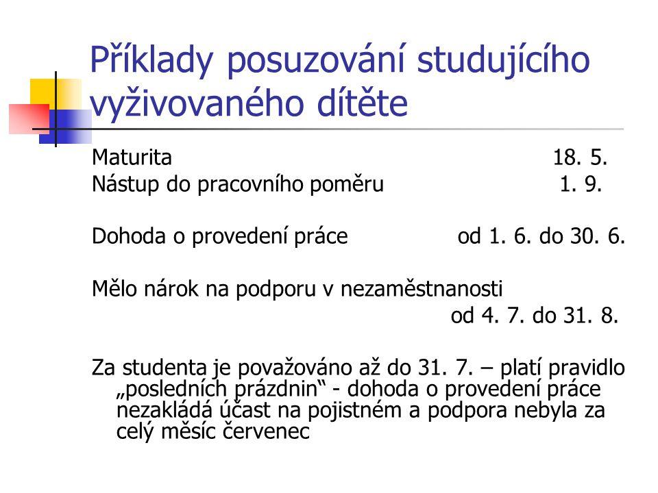 Příklady posuzování studujícího vyživovaného dítěte Maturita18. 5. Nástup do pracovního poměru 1. 9. Dohoda o provedení práce od 1. 6. do 30. 6. Mělo