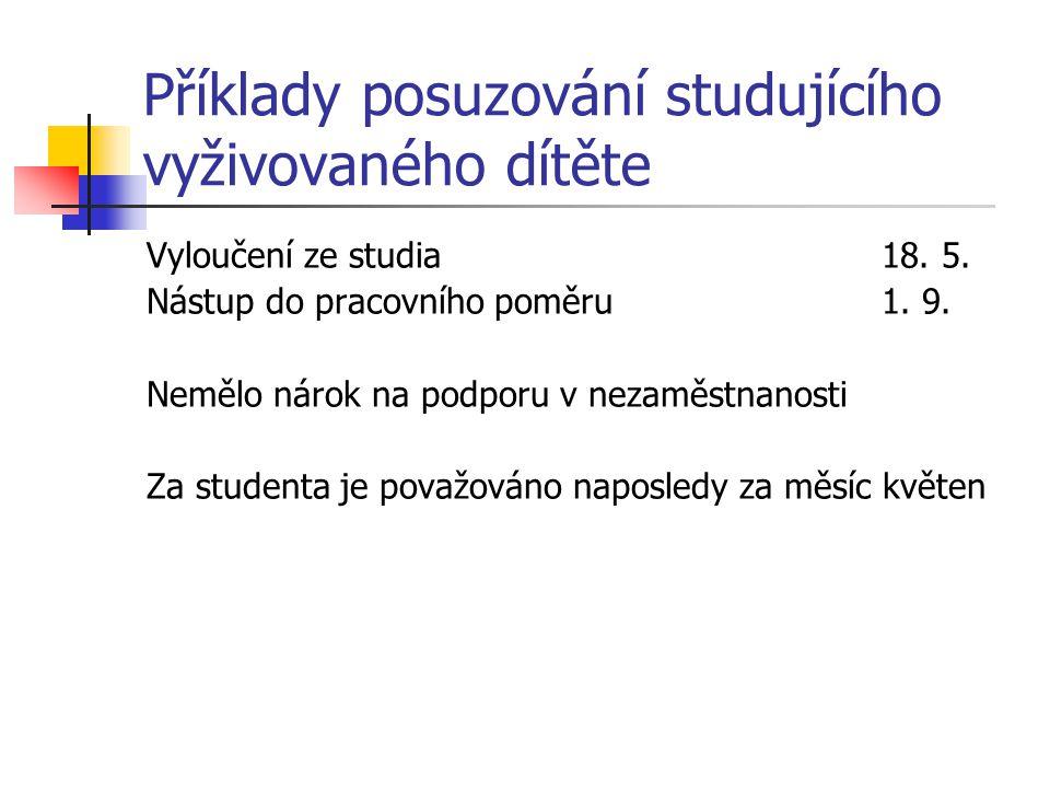 Příklady posuzování studujícího vyživovaného dítěte Vyloučení ze studia18.