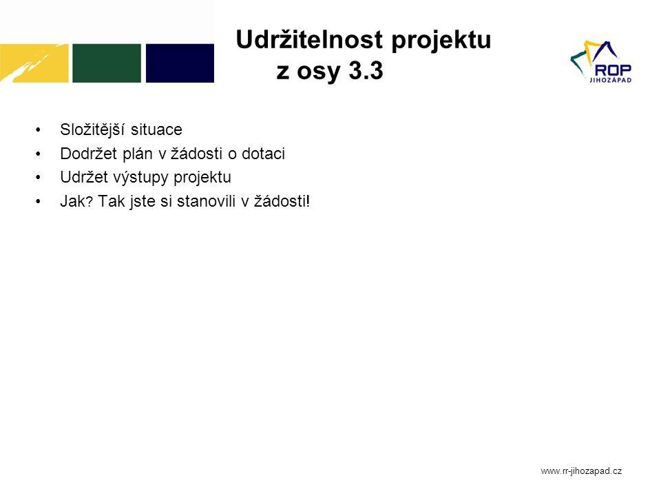 Udržitelnost projektu z osy 3.3 Složitější situace Dodržet plán v žádosti o dotaci Udržet výstupy projektu Jak ? Tak jste si stanovili v žádosti! www.