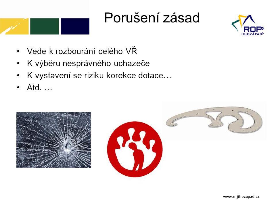 Porušení zásad Vede k rozbourání celého VŘ K výběru nesprávného uchazeče K vystavení se riziku korekce dotace… Atd. … www.rr-jihozapad.cz