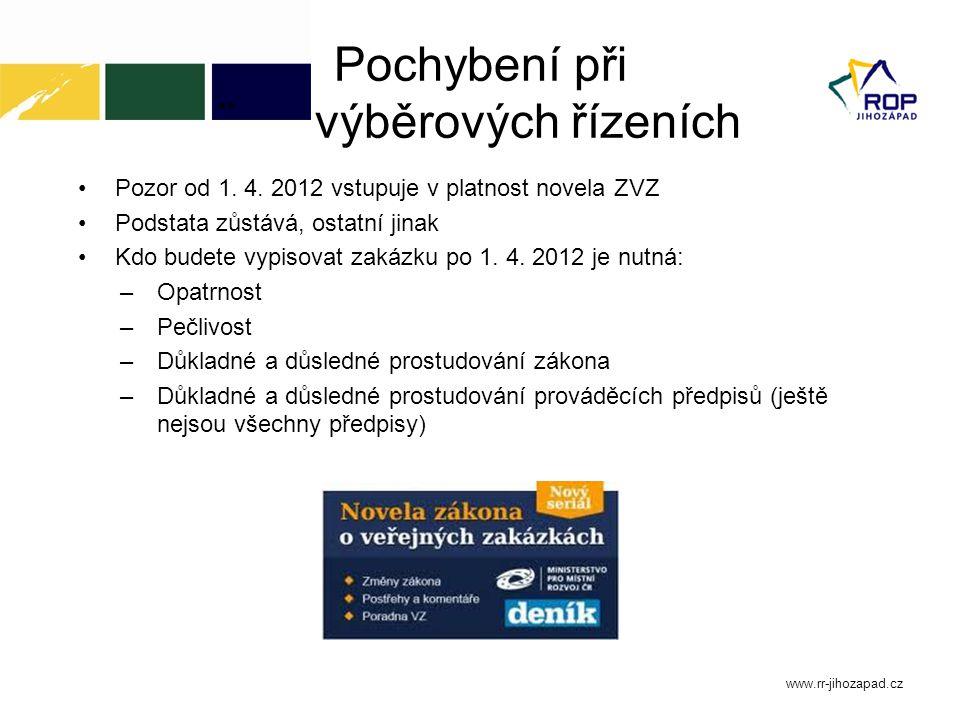 Pochybení při ¨výběrových řízeních Pozor od 1. 4. 2012 vstupuje v platnost novela ZVZ Podstata zůstává, ostatní jinak Kdo budete vypisovat zakázku po