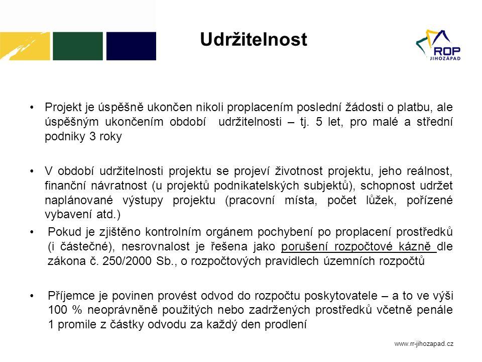 Monitorovací zpráva o udržitelnosti projektu Od 1.