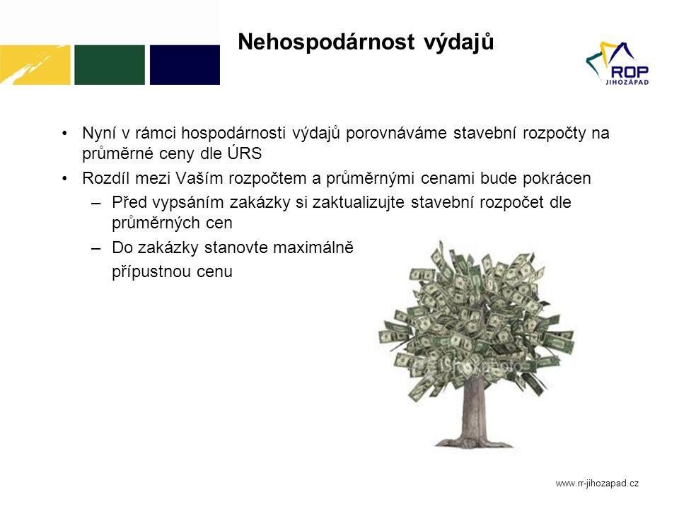 Nehospodárnost výdajů Nyní v rámci hospodárnosti výdajů porovnáváme stavební rozpočty na průměrné ceny dle ÚRS Rozdíl mezi Vaším rozpočtem a průměrným