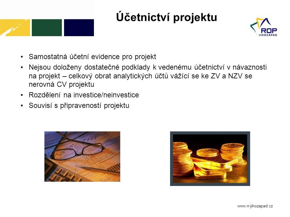 Účetnictví projektu Samostatná účetní evidence pro projekt Nejsou doloženy dostatečné podklady k vedenému účetnictví v návaznosti na projekt – celkový
