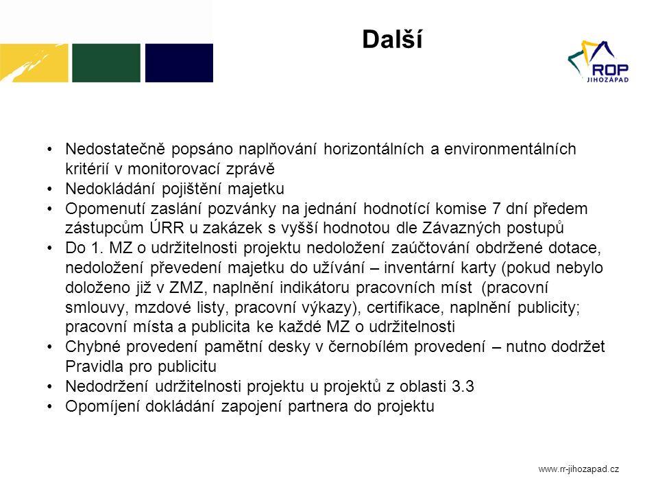 Další Nedostatečně popsáno naplňování horizontálních a environmentálních kritérií v monitorovací zprávě Nedokládání pojištění majetku Opomenutí zaslán