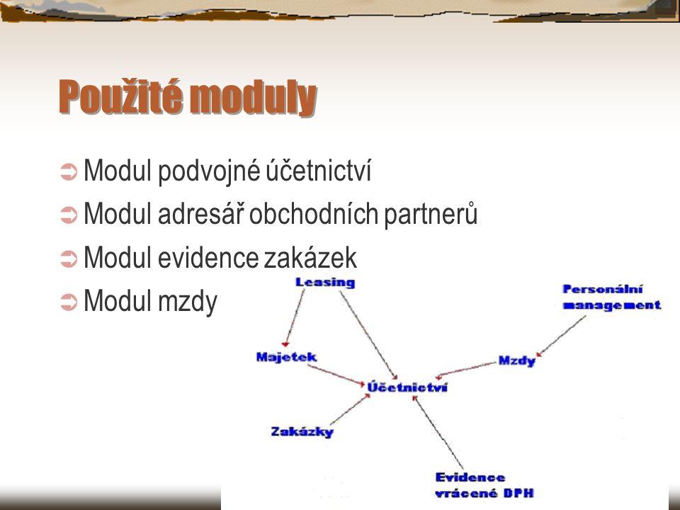 Použité moduly  Modul podvojné účetnictví  Modul adresář obchodních partnerů  Modul evidence zakázek  Modul mzdy