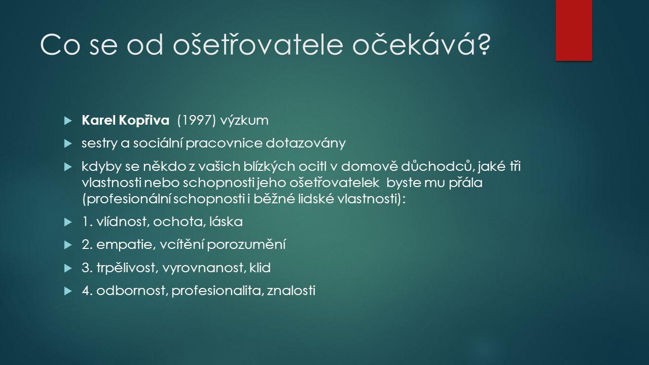 Co se od ošetřovatele očekává?  Karel Kopřiva (1997) výzkum  sestry a sociální pracovnice dotazovány  kdyby se někdo z vašich blízkých ocitl v domo