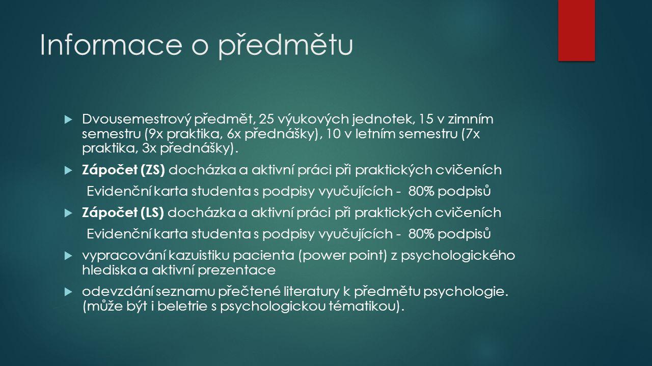 Informace o předmětu  Dvousemestrový předmět, 25 výukových jednotek, 15 v zimním semestru (9x praktika, 6x přednášky), 10 v letním semestru (7x prakt
